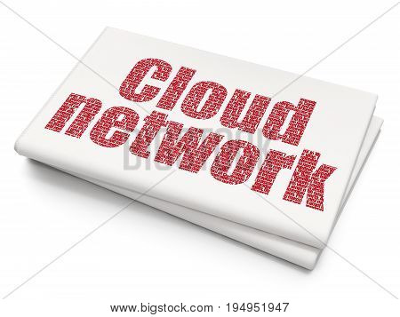 Cloud technology concept: Pixelated red text Cloud Network on Blank Newspaper background, 3D rendering