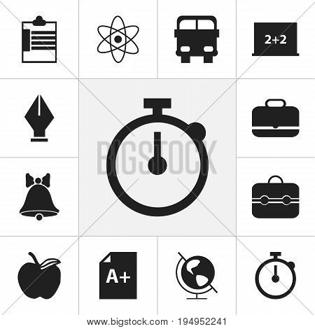 Set Of 12 Editable School Icons. Includes Symbols Such As Nib, Transport Vehicle, Trunk And More. Can Be Used For Web, Mobile, UI And Infographic Design.
