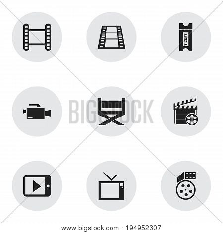 Set Of 9 Editable Movie Icons. Includes Symbols Such As Movie Strip, Tablet Play, Retro Television And More. Can Be Used For Web, Mobile, UI And Infographic Design.