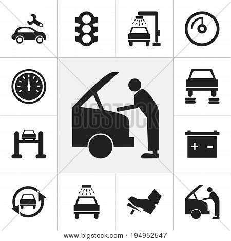Set Of 12 Editable Car Icons. Includes Symbols Such As Odometer, Service, Treadle And More. Can Be Used For Web, Mobile, UI And Infographic Design.