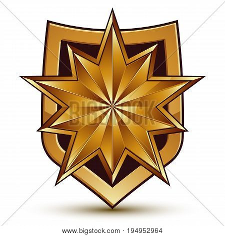 Sophisticated vector blazon with a golden star emblem 3d polygonal glamorous design element clear EPS 8.