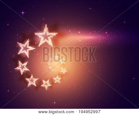 Poster Template with Stars. Concert Party Theater Dance Presentation Show Design. Colorful Space.