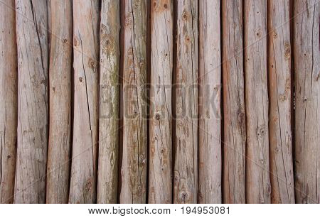 Wooden logs wall of rural house for use as background.