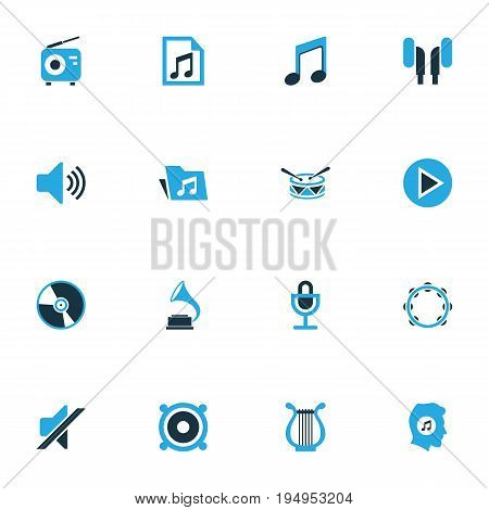 Multimedia Colorful Icons Set. Collection Of Note, Radio, Gramophone And Other Elements. Also Includes Symbols Such As File, Folder, Note.