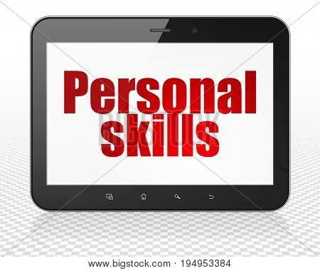 Education concept: Tablet Pc Computer with red text Personal Skills on display, 3D rendering