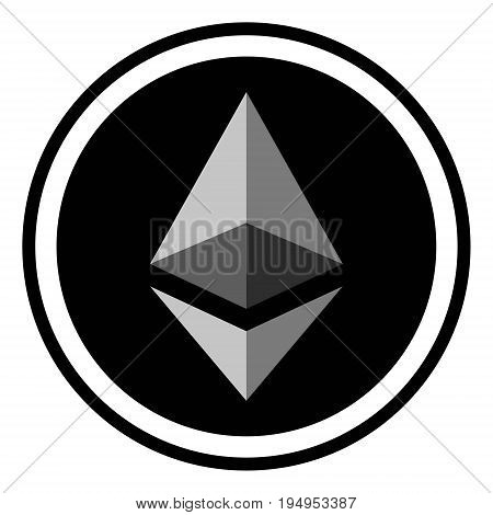 Coin crypto currency Ethereum, vector icon digital ether crypto currency Ethereum