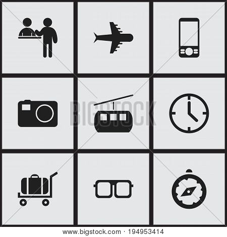 Set Of 9 Editable Trip Icons. Includes Symbols Such As Aero, Cart, Watch And More. Can Be Used For Web, Mobile, UI And Infographic Design.