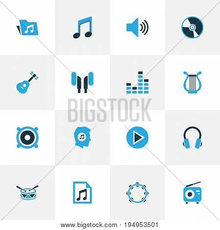Multimedia Colorful Icons Set. Collection Of Tambourine, Guitar, Radio And Other Elements. Also Includes Symbols Such As Headphone, Earphone, Instrument.