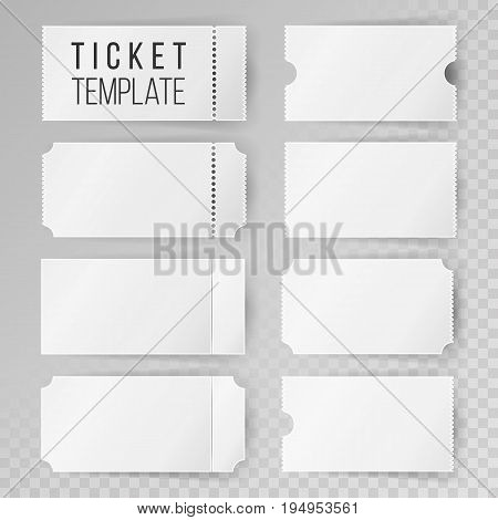 Ticket Template Set Vector. Invitation Coupon. Isolated