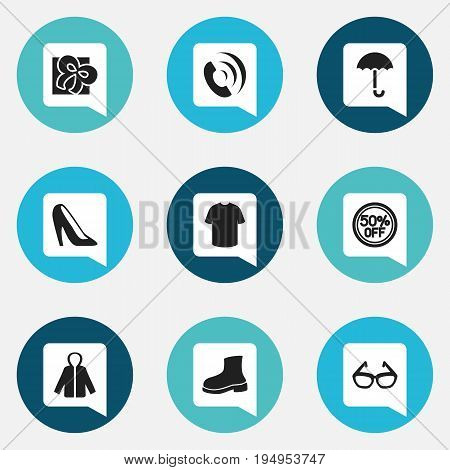 Set Of 9 Editable Trade Icons. Includes Symbols Such As Rebate, Sheath, Telephone And More. Can Be Used For Web, Mobile, UI And Infographic Design.