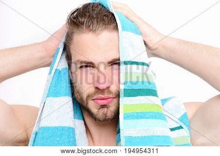 Bathing And Morning Time Concept. Macho With Striped Towel