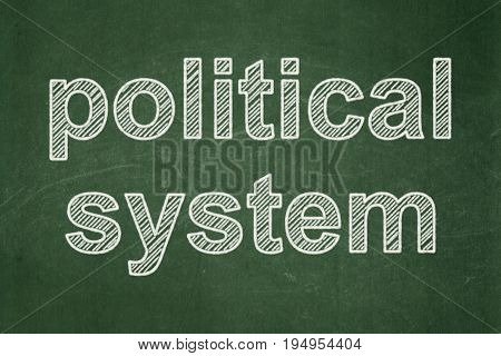 Politics concept: text Political System on Green chalkboard background