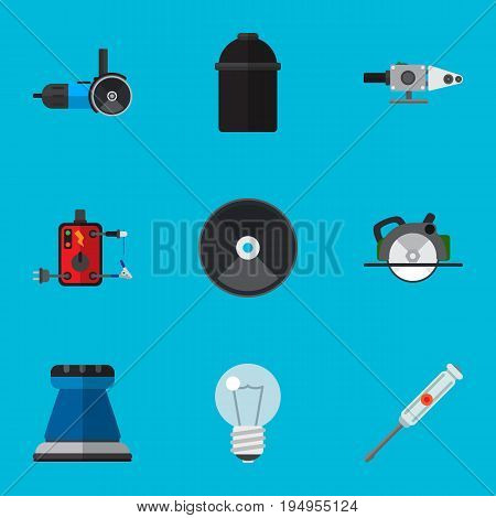 Set Of 9 Editable Instruments Icons. Includes Symbols Such As Blowpipe, Grinder, Emery Paper And More. Can Be Used For Web, Mobile, UI And Infographic Design.