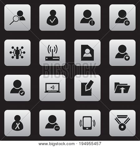 Set Of 16 Editable Global Icons. Includes Symbols Such As Transfer, Monitor, Document And More. Can Be Used For Web, Mobile, UI And Infographic Design.