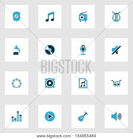 Multimedia Colorful Icons Set. Collection Of Radio, Gramophone, Harp And Other Elements. Also Includes Symbols Such As Microphone, Button, Music.