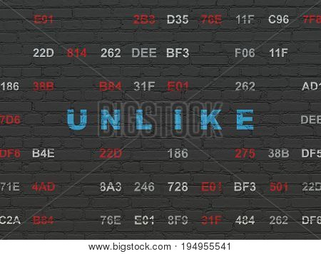 Social network concept: Painted blue text Unlike on Black Brick wall background with Hexadecimal Code