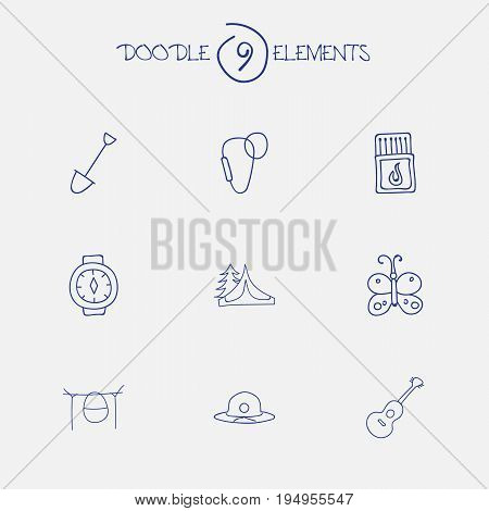 Set Of 9 Editable Travel Icons. Includes Symbols Such As Campfire Cooking, Flammable Stick, Musical Instrument And More. Can Be Used For Web, Mobile, UI And Infographic Design.