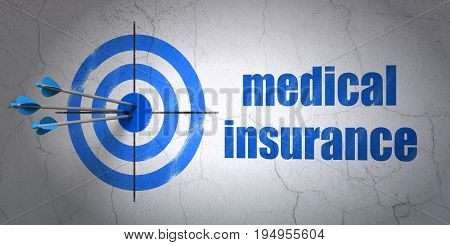 Success Insurance concept: arrows hitting the center of target, Blue Medical Insurance on wall background, 3D rendering