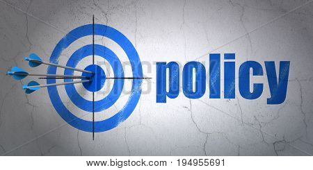 Success Insurance concept: arrows hitting the center of target, Blue Policy on wall background, 3D rendering