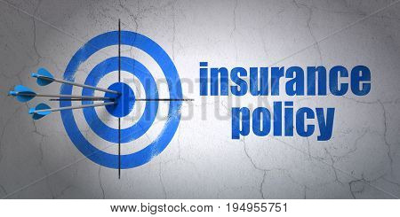Success Insurance concept: arrows hitting the center of target, Blue Insurance Policy on wall background, 3D rendering