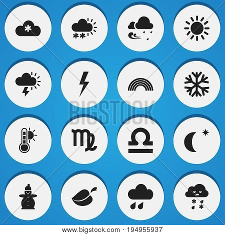 Set Of 16 Editable Air Icons. Includes Symbols Such As Midnight, Snow Granule, Snow Person And More. Can Be Used For Web, Mobile, UI And Infographic Design.