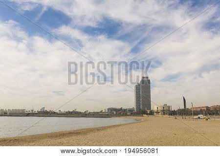 The Twins Towers, Located Between The Beach Of Barceloneta And The Olympic Village. Barcelona, Spain