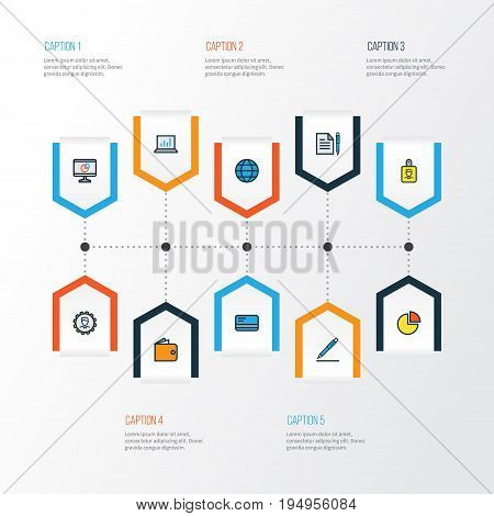 Job Colorful Outline Icons Set. Collection Of Pie Chart, Circle Stats, Bank Cash And Other Elements. Also Includes Symbols Such As Pie, Contract, Chart.