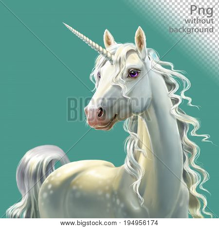 White unicorn with mane, close-up, png without background