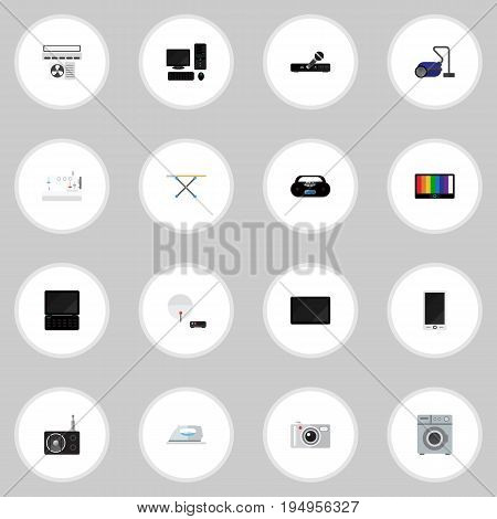 Set Of 16 Editable Tech Icons. Includes Symbols Such As Sweeper, Screen, Appliance And More. Can Be Used For Web, Mobile, UI And Infographic Design.