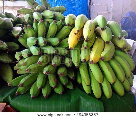 Bananas In The Farmer's Market In Hilo, Hawaii.