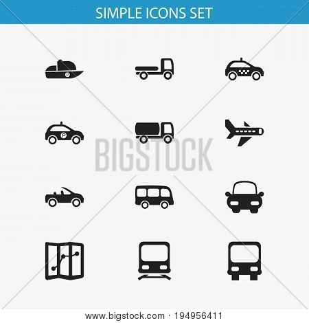 Set Of 12 Editable Transportation Icons. Includes Symbols Such As Automotive, Sheriff, Carriage And More. Can Be Used For Web, Mobile, UI And Infographic Design.
