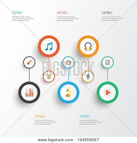Music Flat Icons Set. Collection Of Tone, Rhythm, Media And Other Elements. Also Includes Symbols Such As Begin, Instrument, Frequency.