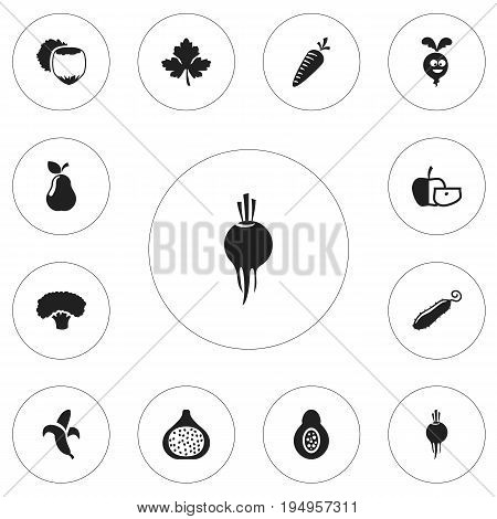 Set Of 12 Editable Kitchenware Icons. Includes Symbols Such As Tree, Jonagold, Radish And More. Can Be Used For Web, Mobile, UI And Infographic Design.