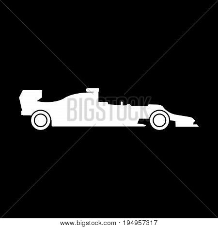 Silhouette Of A Racing Car The White Color Icon .