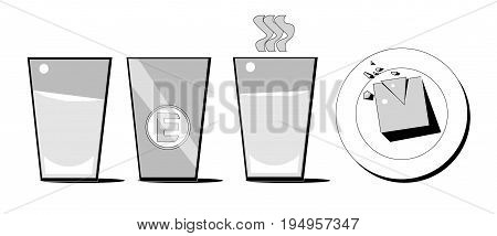Set of four icons. Three icons are glasses. The first mug is filled with cold liquid. The second glass is empty. The third object is filled with hot liquid. The fourth object is a plate with food.