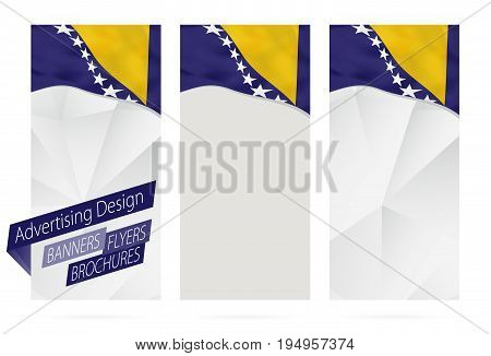 Design Of Banners, Flyers, Brochures With Flag Of Bosnia And Herzegovina.