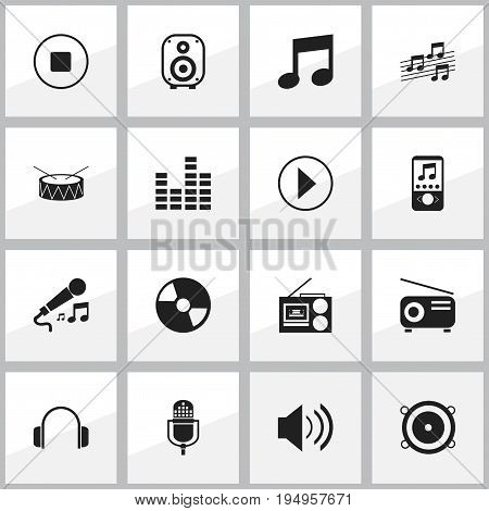 Set Of 16 Editable Melody Icons. Includes Symbols Such As Start Audio, Snare, Microphone And More. Can Be Used For Web, Mobile, UI And Infographic Design.