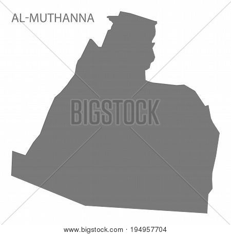 Al-Muthanna Iraq map grey illustration silhouette shape