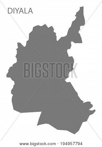 Diyala Iraq map grey illustration silhouette shape