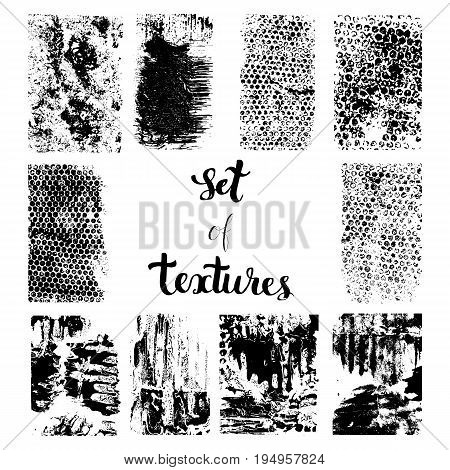 Set of different grunge vector abstract textures