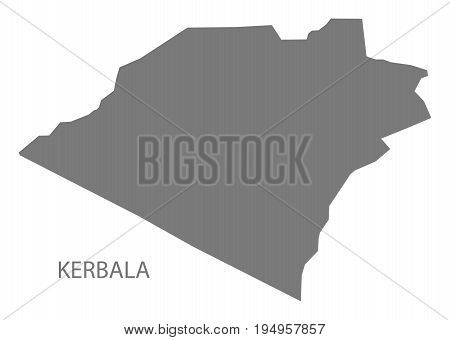 Kerbala Iraq map grey illustration silhouette shape