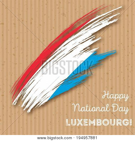 Luxembourg Independence Day Patriotic Design. Expressive Brush Stroke In National Flag Colors On Kra