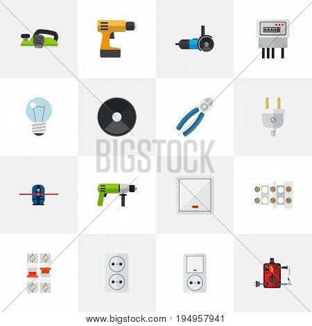 Set Of 16 Editable Electric Icons. Includes Symbols Such As Grinder, Nipper, Electric And More. Can Be Used For Web, Mobile, UI And Infographic Design.