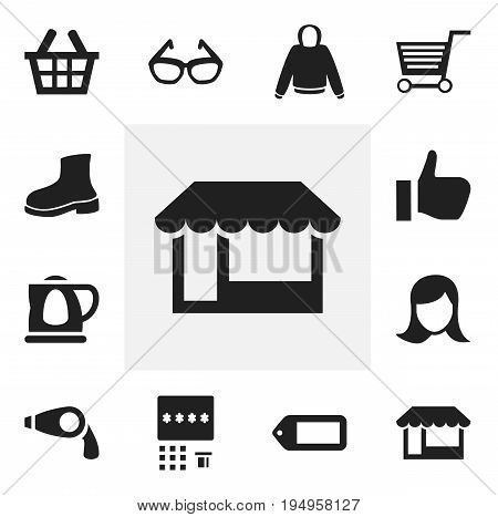 Set Of 12 Editable Trade Icons. Includes Symbols Such As Spectacles, Boot, Pushcart And More. Can Be Used For Web, Mobile, UI And Infographic Design.