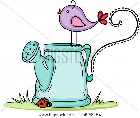 Scalable vectorial image representing a cute bird with watering can, isolated on white.