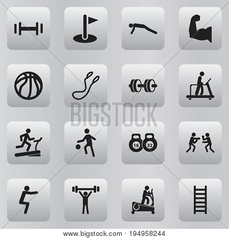 Set Of 16 Editable Active Icons. Includes Symbols Such As Bodybuilding, Sportsman, Stairway And More. Can Be Used For Web, Mobile, UI And Infographic Design.