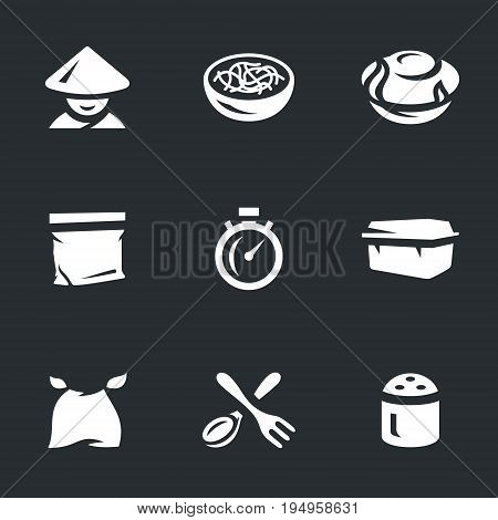 Chinese, pasta, cooking, semi-finish, stopwatch, container, bib, spoon, fork, spice.