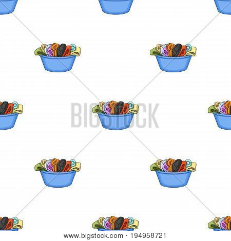 A bowl with dirty laundry. Dry cleanin single icon in cartoon style vector symbol stock illustration .