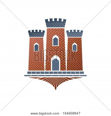 Old fortress decorative isolated vector illustration. Ancient Castle ornate logo in old style on white background.
