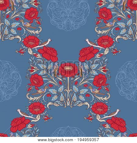 Floral seamless pattern, background with vintage style flowers and birds in red and blue colors.  Stock line vector illustration.